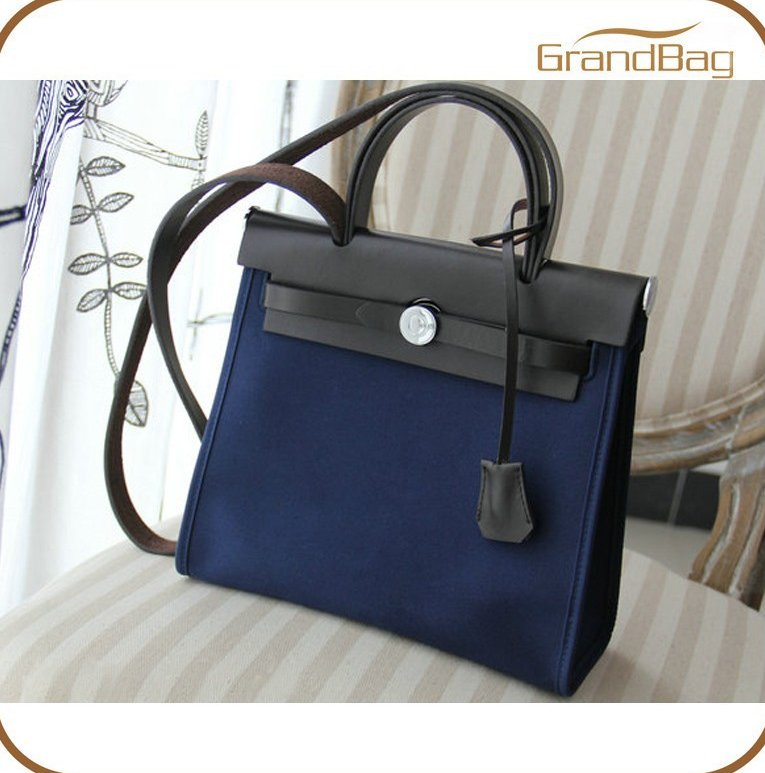 Trend Vintage Genuine Leather Canvas Women Business Bag Lock Bueno Sling Ladies Handbag