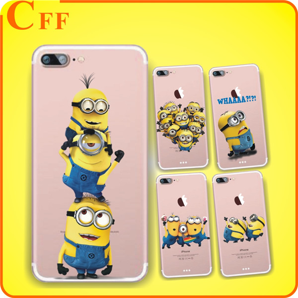 Cute Despicable Me Yellow Minions Design Cover Soft Minions Case For iphone 6 6s 5 5s SE 7 plus Transparent Silicone Case Coque
