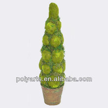 Artificial moss topiary in pot in cone shape for garden stairs display