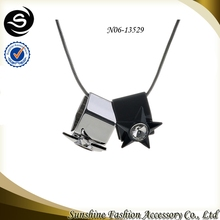 Pendant fashion jewelry with star charm jewelry design plated in gun black/silver chain necklace manufactured in China