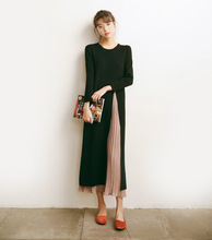 B20620A new design fitting long sleeved irregular loose knit fashion dress