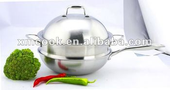 Triply steel wok with steamer insert cookware set (XM-2050C)