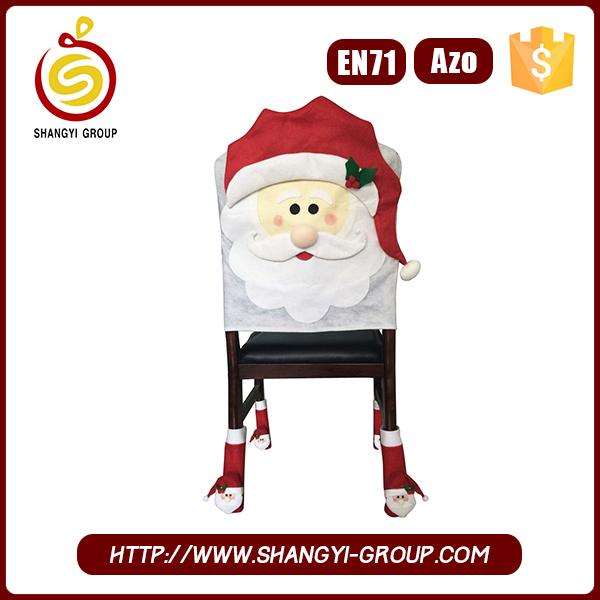 Hot sale felt Santa Claus christmas chair cover set for christmas