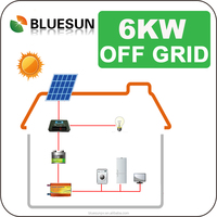 Complete set PV solar system home use off grid 6kw drawing of solar system