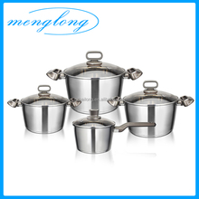 Bakelite Handles Stainless Steel Cook Pot 8pcs Cook Pots Induction Base Cookware