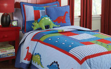 Children Dinosaur Cartoon printed quilt/ Kids Dinosaur Cartoon Quilts Bedding set