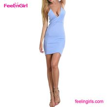Wholesale Sexy Deep V Neck Straps Light Blue Women Bodycon Dresses