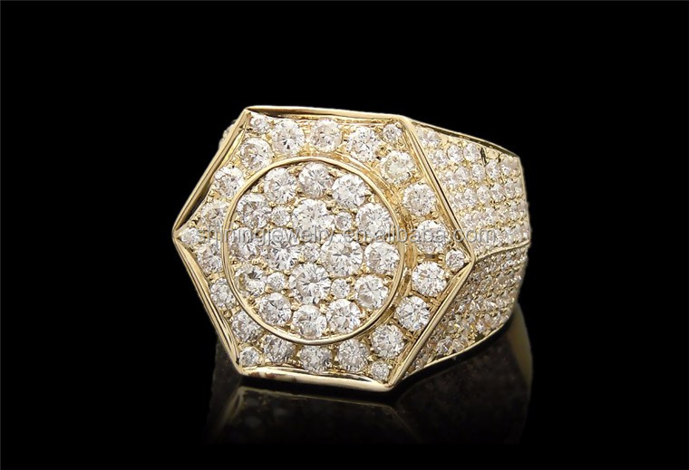 Men 39 s micro pave yellow gold finish lab diamond hip hop for Custom lab made hip hop jewelry