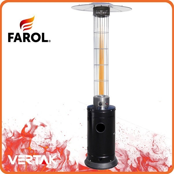 CE approval super flame glass tube gas patio heater