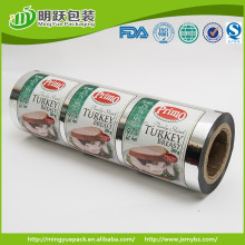 turkey breast packaging lid film seal to APET/PE tray , 9 colors printed