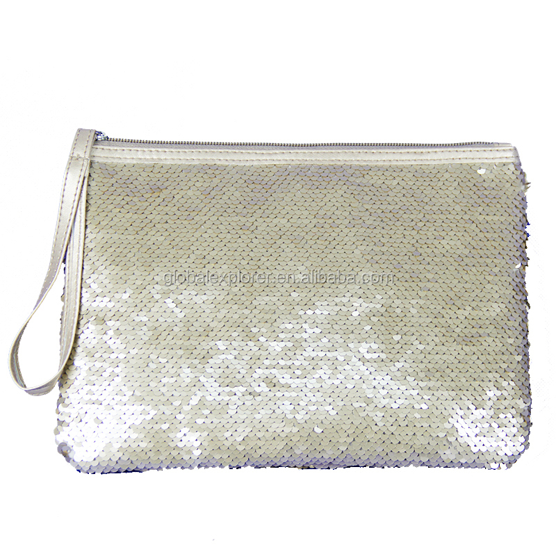 fashion gold movable sequins cosmetic bag pouch clutch bag