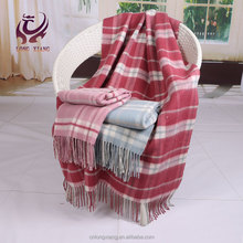 high quality plaid 100% merino wool throws blanket with tassel