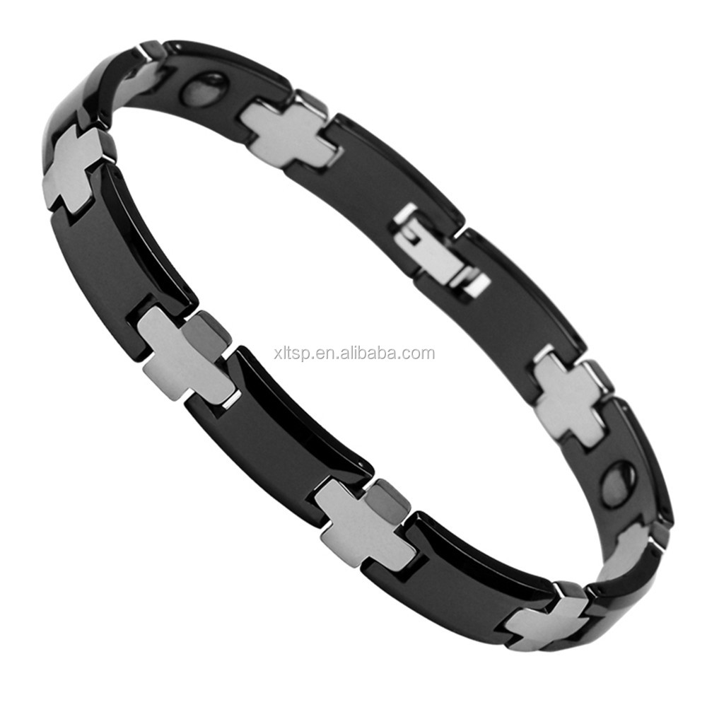 Black and original color germanium ion tungsten bracelet