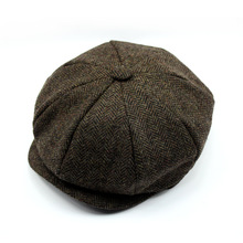 fashion gery wool custom made men cap wholesale hard brim beret