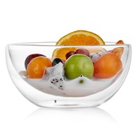 Containers for kitchen Double wall glass fruit sugar salad bowls