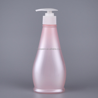 300ml Pearl Pink Flat Oval Shape Costumized Logo PET Plastic Hair Shampoo Bottles