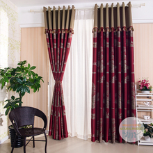 Golden tree pattern jacquard joint window curtain sets for living room with lining