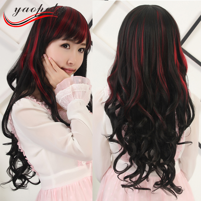 Cheap women hair wig student dancing party cosplay wig long curly oblique bang balck highlights red synthetic wig