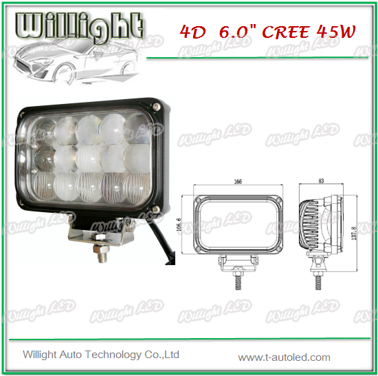 High power above 6inch 45W high intensity Led Work light, 6 inch led driving lights for 4X4