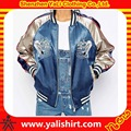 New fashion streetwear embroidery cut and sew contrast color 100%polyester shiny custom satin bomber jacket for women
