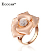 Wholesales Gold Flower Rings Crystal Engagement