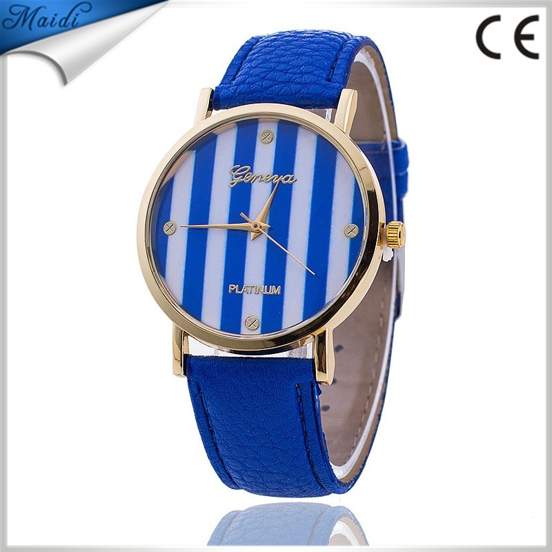 2017 New Fashion GENEVA Stripe Dress Stylish Casual Quartz Lady Watch GW045