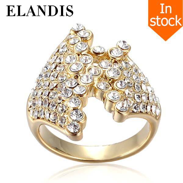E-ELANDIS yiwu gold diamond ring latest jewelry fashion design wedding gold diamond ring AR00132