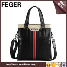 fashion office leather bag for men black tote bag leather customized