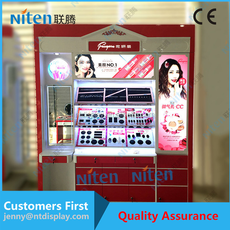 Accept customized wooden cosmetic shop counter design with lights cosmetic display stand