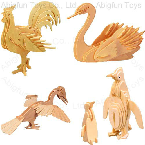 3d puzzle bird wooden construction kit, woodcraft penguin & rooster model kit