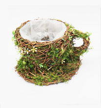wicker coffee cup planter pot with moss