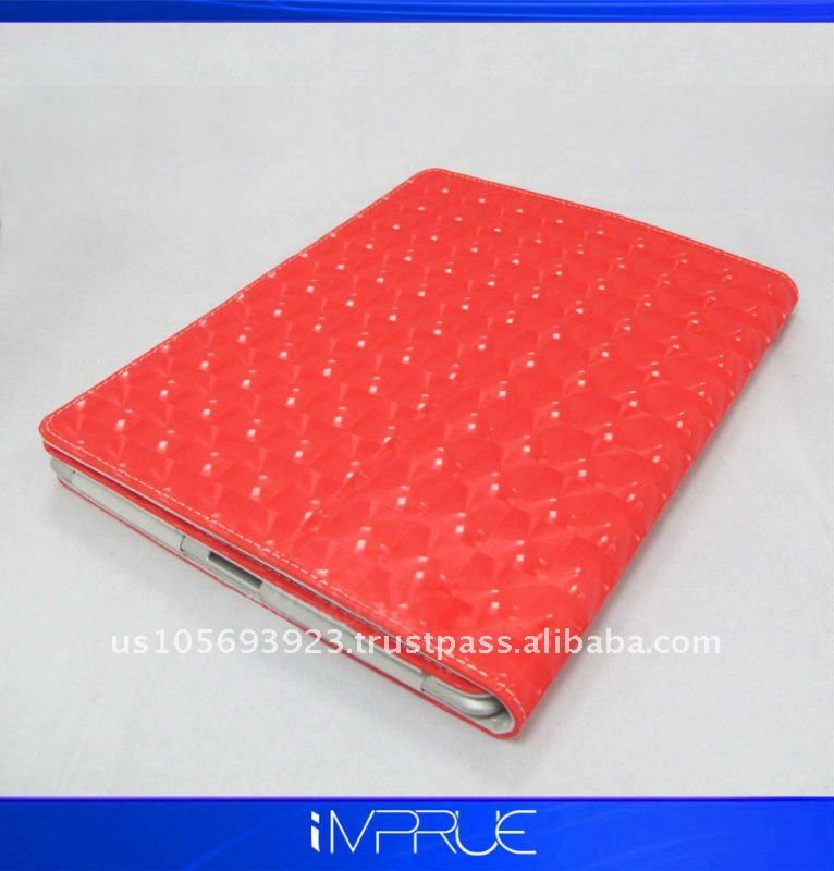 red leather cover for ipad with high quality,best price!!