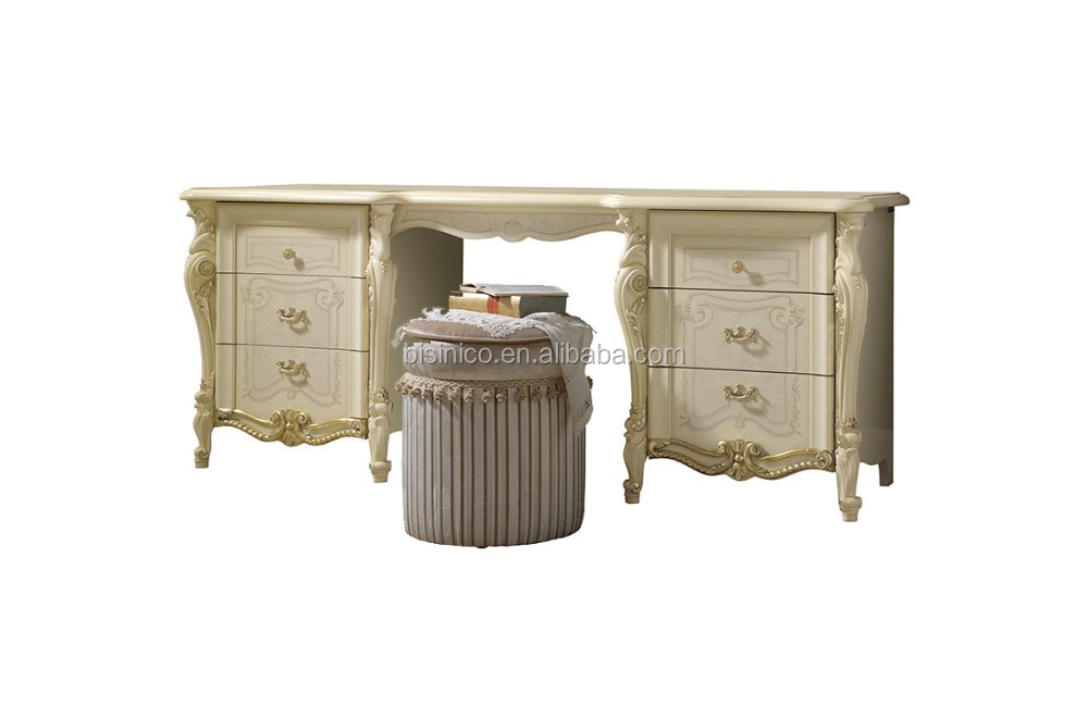 Best Selling 2016 Classic Victorian Style Wooden Creamy White 5pcs Bedroom Set Solid Wood