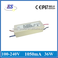 Constant current electronic LED power supplies for 36W 36V LEDs , UL CUL CE IP67 approval