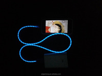 USB visible lighting cable with fluorescence in dark popular in German Poland Italy market