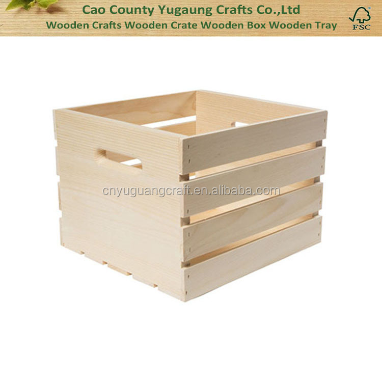 Unfinished square wooden crate with handle holes buy for Where do i find wooden crates