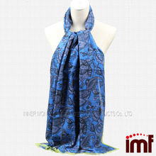 Fashion Indian Paisley Pashmina Shawls Blue Scarf Stoles