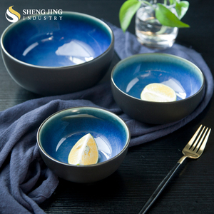 Korean Restaurant 5.75inch 7.5inch 5inch Blue Inside Black Outside Glaze Ceramic Bowl