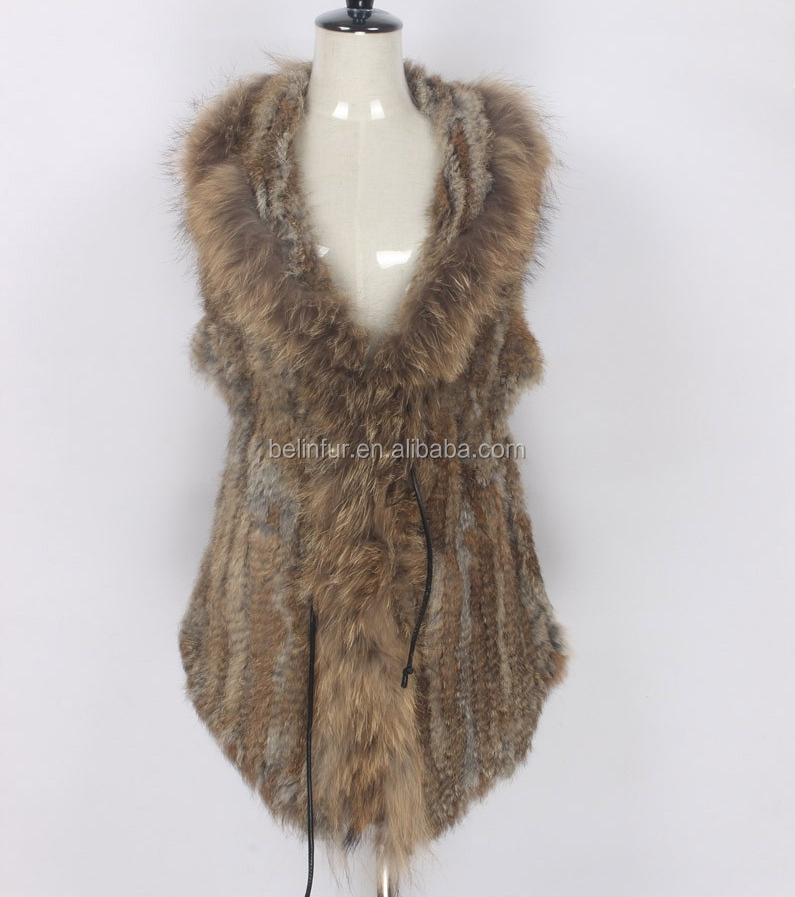 Rabbit Fur Hand Knitted Vest Open Front And Peaked Hem 2017 New Hand Knitted Style Fashion Women Gilet