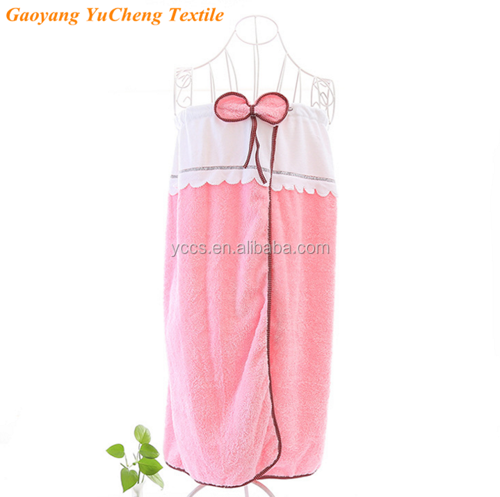 New Towels Fabrics coral fleece Wrap Chest Women Bathrobe pink bow knit Quality Ladies Bath
