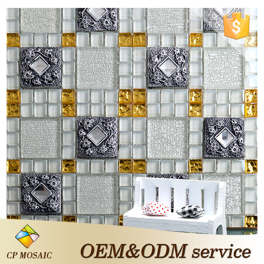 Foshan China Factory Direct Sale Glossy Crystal Glass Mosaic Tv For Background Wall