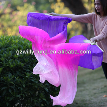 Belly Dance Chinese Natural Silk Fan Veils, Pure Silk Material, 1.8*0.9M, PURPLE/FUSCHIA/PINK