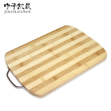 Round Edge Bamboo Zebra Two Color Cutting Boards with Wide Metal handle