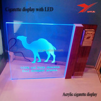 Transparent wholesale PMMA camel acrylic cigarette display with LED light