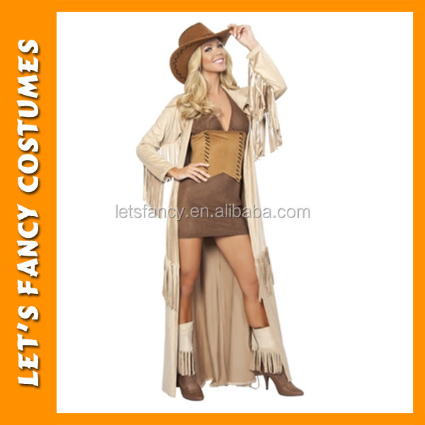 PGWC1493 sexy long women cowboy dress halloween costume wholesale in China