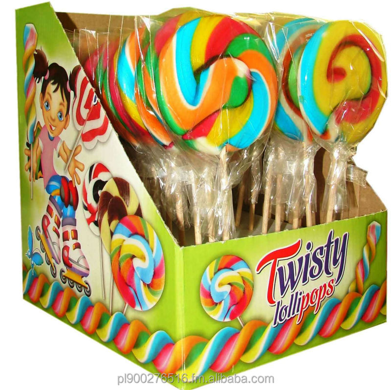 Hard candy twist lollipops 60g