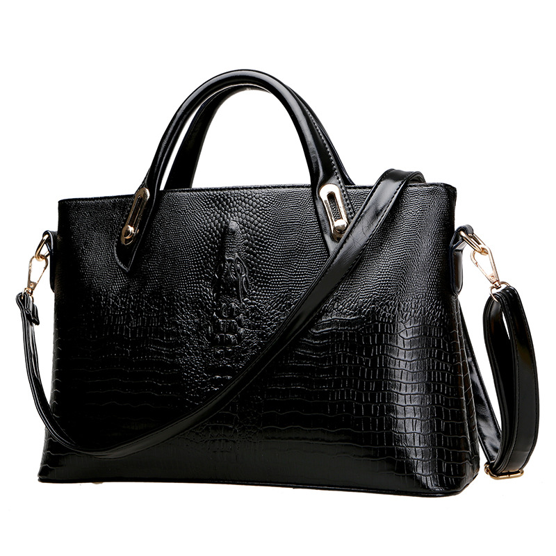 Ladies Top Handle Tote Bag for Women Crocodile Embossed Handbags
