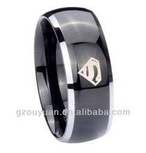 High Quality Black Superman Tungsten Carbide Wedding Rings