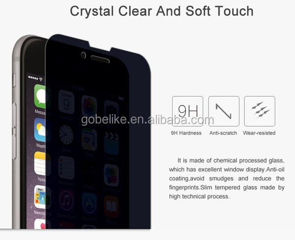 Anti-peep 360 degree privacy full cover tempered glass for iphone 6 privacy screen protector