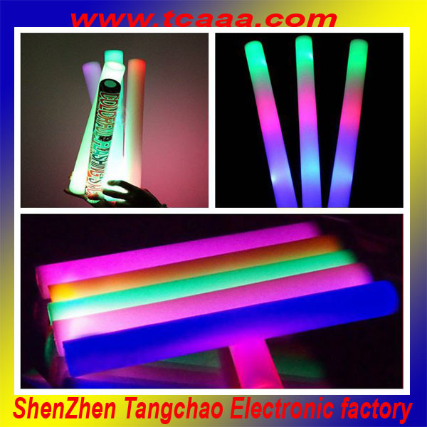 2016 best selling led foam stick with muticolor logo printed party supplies